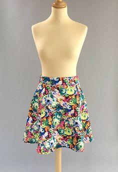Prešívaná kruhová sukňa kvetinová