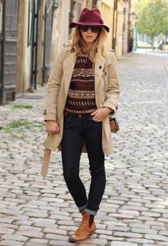Znalezione obrazy dla zapytania hat and sweater jumper and black ankle boots outfit