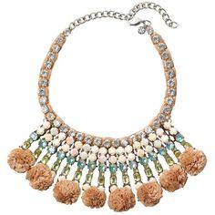 Tory Burch Pom-Pom Raffia Crystal Woven Necklace ($450) via Polyvore