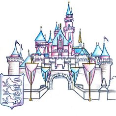 Sleeping Beauty Castle, Included in the New Park Icon Sketch Collection Debuting at Disneyland Disney Castle Drawing, Castle Sketch, Drawing Disney, Disney Kunst, Arte Disney, Disney Art, Disney Images, Disney Theme, Disney Crafts