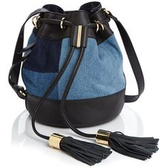 See By Chloe Vicki Small Denim Bucket Bag ($395) ❤ liked on Polyvore featuring bags, handbags, shoulder bags, denim, black handbags, denim shoulder bag, see by chloé, black purse and denim purse