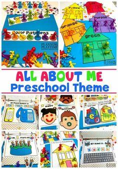 All About Me Preschool Activities #preschoolactivities #planningplaytime #backtoschool #preschoolworksheets All About Me Preschool Theme, Preschool Themes, All About Me Crafts, Senses Preschool, Preschool Family, Preschool Colors, Preschool Printables, Sorting Activities, Learning Activities