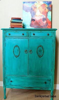 Lucky Star Lane  CeCe Caldwell's Emerald Isle Green Glazed with Thomasville Teal and heavy distressed.