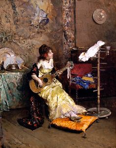 Girl with a Guitar and Parrot by Raimundo de Madrazo y Garreta (1841 - 1920) Spanish realist painter                                                                                                                                                                                 Mais