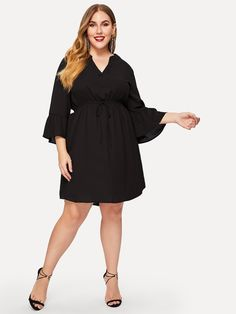 cba3d212b233f Plus Flounce Sleeve Curved Hem Dress -SHEIN(SHEINSIDE) Plus Size Winter  Outfits,