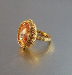 Vintage Topaz Crystal Cocktail Ring Ornate by LynnHislopJewels, $34.99