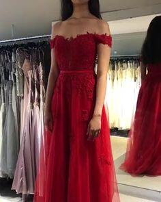 Charming A Line Off the Shoulder Red Prom Dresses with Appliques Braids Maid Dresses, Grad Dresses, Homecoming Dresses, Winter Prom Dresses, Evening Dresses, Formal Dresses Online, Dress Indian Style, Applique Dress, Chic Dress