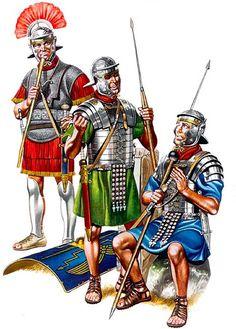 • Centurio, Legio XX Valeria, mid-1st C. AD  • Legionary infantryman, mid-1st C. AD  • Legionary infantryman, second half 1st C. AD