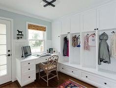 Combination Mudroom Laundry Room - Design photos, ideas and inspiration. Amazing gallery of interior design and decorating ideas of Combination Mudroom Laundry Room in laundry/mudrooms by elite interior designers. Room Makeover, Built In Desk, Mudroom, Room Design, Mudroom Design, Laundry Room Makeover, Mudroom Laundry Room, Room Storage Diy, Traditional Home Office