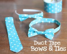 duct tape bow tie, tie, headband