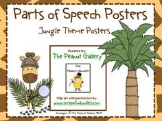 $2.50 Your students will be wild about parts of speech with these colorful posters (jungle theme)!