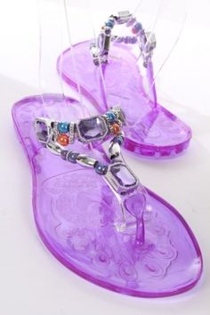 Purple Clear Plastic Rubber Rhinestone Bead Slip On Sandals