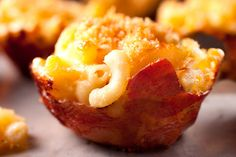 Prosciutto-Wrapped Macaroni and Cheese Cups - wrapping anything in bacon always makes it better