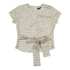 Euro Club Girls Coral Printed Top with Tie Bow