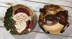 Dario Farrucci Designs Lot 2 Christmas Holiday Candy Bowls Santa Claus Reindeer #DarioFarrucci