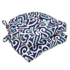 """Free Shipping. Buy Set of 2 Moraccan Flair Navy Blue and Teal Damask Decorative Chair Cushion 16"""" at Walmart.com"""