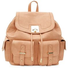 Peach Multi Pocket Backpack ($19) ❤ liked on Polyvore