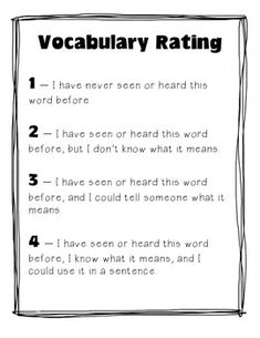Vocabulary Rating - A Pre- and Post-Reading Vocabulary Activity