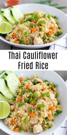 All the flavors of Thai fried rice with less carbs and sodium. This makes a large batch so it's perfect for meal prep throughout the week. Rice Recipes Vegan, Healthy Recipes, Healthy Meals, Ww Recipes, Cauliflower Fried Rice, Cauliflower Recipes, Vegetable Dishes, Vegetable Recipes, Asian Recipes