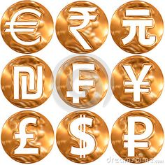 world currency symbols, gold surface