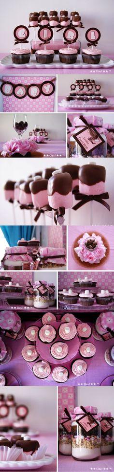 Brown and Pink Baby Shower - Dessert Table - Pink and Brown / Mesa de postres y dulces para baby shower en colores rosa y café - Ideas para decorar un baby shower - #Baby #Shower #ideas