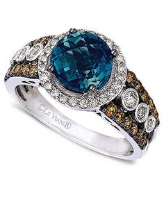 Le Vian 14k White Gold Ring, Blue Topaz (2 ct. t.w.) and White and Chocolate Diamond (3/4 ct. t.w.)