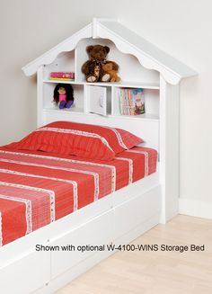 Make your little girl's fantasy come true with this adorable headboardThis sturdy dollhouse-styled headboard is made of MDF and wood composite materialsHeadboard is designed to fit with almost any twin box-spring frame or storage bed