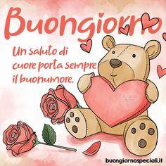 Immagini di Buongiorno per Whatsapp e Facebook Italian Quotes, Winnie The Pooh, Good Morning, Peanuts Comics, Teddy Bear, Animals, Fictional Characters, Images, Mario