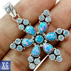SP213363 FIRE OPAL  BLUE TOPAZ 925 STERLING SILVER PENDANT~Fire Opal~Oh My~