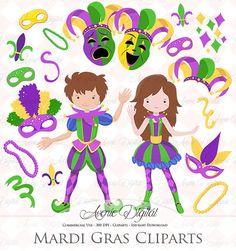 Mardi Gras Clipart Scrapbook printables Carnival by AvenieDigital