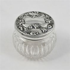 Watrous Mfg. Co. Sterling/Glass Dresser Jar, Glass w/ Sterling Lid