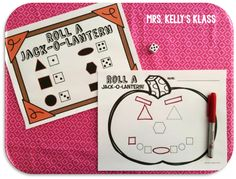 Roll A Jack-o-Lantern ... Cute way to practice shapes and numbers this fall!!!