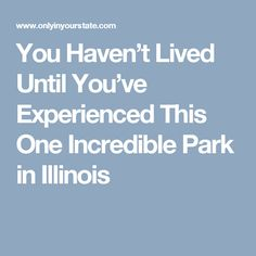 You Haven't Lived Until You've Experienced This One Incredible Park in Illinois