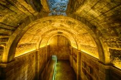 The underground cistern at Castelo dos Mouros, Sintra, Portugal. It is said that a moorish king lies buried underneath as the cistern has never dried up.