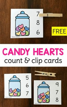 FREE printable Candy Hearts Count & Clip Cards for Valentine's Day in preschool using the numbers 0-10 to practice 1:1 correspondence, counting, number recognition, and fine motor skills!