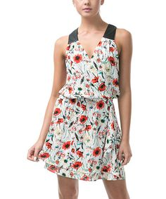 CQbyCQ Off-White & Red Floral Racerback Dress | zulily