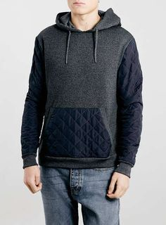 Grey Salt And Pepper Quilted Hoodie by Topman