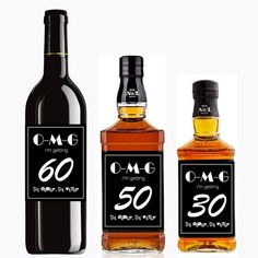 Custom Birthday Decoration Labels 30th 40th 50th 60th 70th Wine Label For Jack Daniel's Whiskey Bottle Sticker