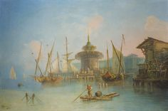 G*** ROMANO ; BUSY SCENE, PROBABLY ON THE BOSPHORUS ; SIGNED AND DATED LOWER LEFT 1862 ; OIL ON CANVAS