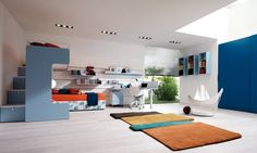 Modern Bedroom Designs for Teenage Girls: Awesome Modern Bedrooom With Bunk Beds Above Blue Cabinet White Study Table And Brown Rug Awesome Tween Bedroom Ideas For Girls ~ articature.com Bedroom Design Inspiration