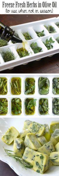 Čerstvé bylinky zamrazené v olivovom oleji