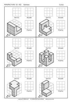 Ejercicios de Vistas y perspectivas. Alzado izquierdo. Piezas con vistas ocultas. Isometric Sketch, Isometric Cube, Basic Sketching, Technical Drawing, Architecture Symbols, Architecture Portfolio, Perspective Drawing Lessons, Drawing Exercises, Drawing Practice