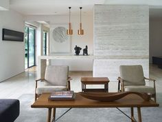 Fireplace tile we love for the middle circular area in our fireplace. Mid Century Modern Interior – Albano Daminato