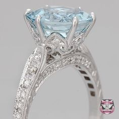 edwardian aquamarine engagement ring i love the band and the color of the stone - Colored Wedding Rings