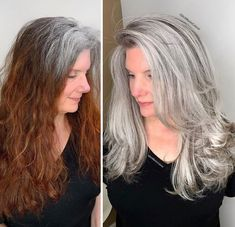 Stylist shows gorgeousness of grey hair instead of covering it up Blonde Color, Hair Color, Grey Hair Transformation, Gray Hair Highlights, Curly Hair Styles, Natural Hair Styles, Transition To Gray Hair, Long Gray Hair, Silver Hair