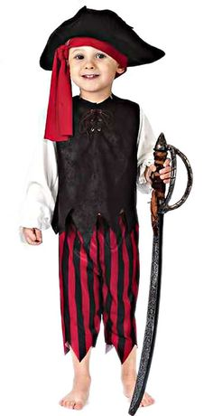 Fun World Costumes Baby Boy's Boy Caribbean Pirate Toddler Costume, Black/Red, Small Best Halloween Costumes & Dresses USA Toddler Pirate Costumes, Diy Pirate Costume For Kids, Boy Costumes, Children Costumes, Disney Costumes, Cosplay Costumes, Halloween Fancy Dress, Halloween Kostüm, Halloween Costumes For Kids