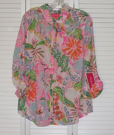 2d6c9539ab3 Lilly Pulitzer for Target Nosey Posey Floral Button Down Shirt Size XXL 390