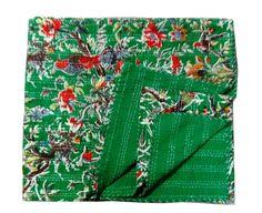 GREEn BIRD KANTHA QUILT THROW GUDARI TWIN BEDSPREAD Vintage Ethnic Decor Art #LuckyHandicraft #Traditional