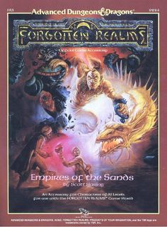 FR3 Empires of the Sands (1e) - Forgotten Realms | Book cover and interior art for Advanced Dungeons and Dragons 1.0 - Advanced Dungeons & Dragons, D&D, DND, AD&D, ADND, 1st Edition, 1st Ed., 1.0, 1E, OSRIC, OSR, fantasy, Roleplaying Game, Role Playing Game, RPG, Wizards of the Coast, WotC, TSR Inc. | Create your own roleplaying game books w/ RPG Bard: www.rpgbard.com | Not Trusty Sword art: click artwork for source