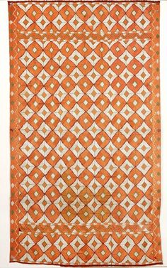 Cotton and silk embroidered Phulkari shawl with abstract design, Punjab, India, 20th c.